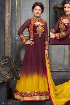 Amazing Akshara Aggie Maroon Yellow Georgette Floor Touch Anarkali Suit Call/Whatsapp 08968017642, 07837798330 or visit  http://easyafford.com/today-s-deal/476-amazing-akshara-aggie-maroon-yellow-georgette-floor-touch-anarkali-suit.html to order