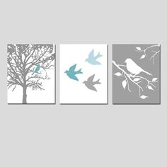 Modern Bird Trio - Set of Three 11x14 Nursery Prints - Choose Your Colors - Shown in Gray, Yellow, Orange, and More - Perfect for Nursery