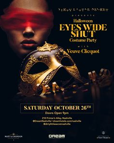 Join Dream Nashville& Dirty Little Secret in Printer& Alley for EYES WIDE SHUT: Halloween Edition. Dirty Little Secret is a sultry, experiential nightclub nestled in the shadows of Nashville& Halloween Eyes, Halloween Party, Wife Affair, Eyes Wide Shut, Costume Contest, Experiential, Event Calendar, Buy Tickets, Nightclub