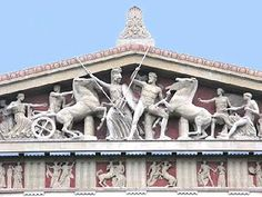 A reconstruction of the west pediment of the Parthenon showing Athena and Poseidon competing for Athens Ancient Greek Sculpture, Ancient Greek Art, Ancient Greece, Greek History, Ancient History, Art History, Ancient Greek Architecture, Art And Architecture, Greek Parthenon