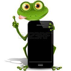 rana de ilustraci�n, verde con negros de tel�fonos celulares photo