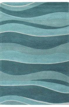 Bombay Rugs Sapphire Contemporary Handmade Wool-Eternity-Landscapes Ocean Rug | Contemporary Rugs