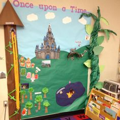 Fairy tale bulletin board  -- I like the castle in the distance and in the foreground ... and the nifty vine!