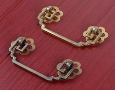 Brass Vintage Chinese Style Drawer Pulls Cabinet Door Handles Set Of 2