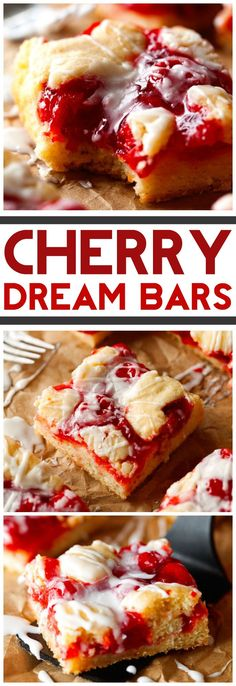 Cherry Dream Bars... These are absolutely AMAZING! Plus, it only requires about 10 minutes of prep time with ingredients you probably already have on hand!