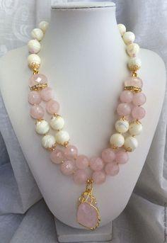 Купить Колье из натуральных камней ЛАКОМКА - колье, натуральные камни, розовый…