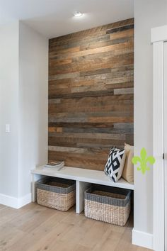We spruced up the entryway of this home with a barnwood wall made from reclaimed wood! Home, Room Remodeling, Porch Interior, House Styles, House Design, Home Remodeling, Mud Room Storage, Home Entrance Decor, Mudroom Design