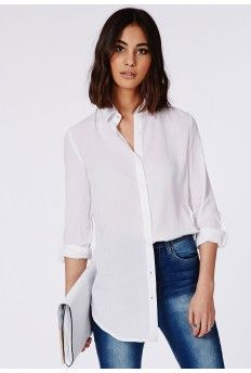 Rolled Sleeve Muslin Shirt White