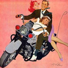 Riding side-saddle on a motorcycle seems a little risky. But then that skirt won't allow anything else, unless she hikes it up about her waist.