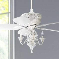 Casa Deville Vintage Chic Ceiling Fan with Light LED Dimmable Crystal Chandelier Rubbed White for Living Room Kitchen Bedroom Family Dining - Casa Vieja Ceiling Fan Chandelier, White Ceiling Fan, Chandelier Bedroom, Bedroom Lighting, Led Ceiling, Elegant Ceiling Fan, Ceiling Fan Lights, Bedroom With Ceiling Fan, Decorative Chandelier