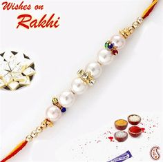 Very Different Pearl Rakhi with multicoloured crystals Handmade Rakhi Designs, Rakhi Making, Making Ideas, Marie, Crafting, Beaded Bracelets, Pendants, Collections, Pearls