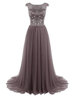 fd60563f71f ALAGIRLS Long Prom Dress Beaded Tulle Evening Dress Cap Sleeves at Amazon  Women s Clothing store