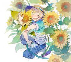 21grams, Tsuritama, Haru (Tsuritama), Laughing, Sunflower, Hose