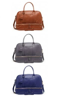 Ultra-roomy, soft travel tote with a bottom shoe compartment, removable crossbody strap and gold-toned hardware
