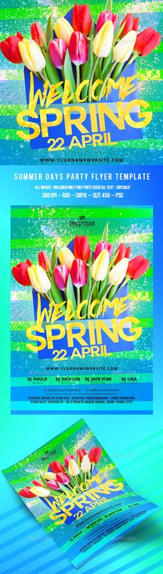 Spring Flyer template, Club flyers and Font logo - spring flyer template