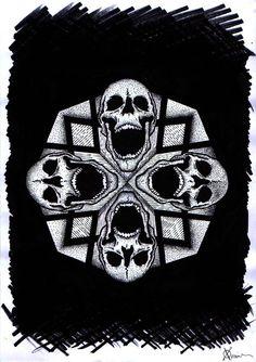 5 by christinazero on DeviantArt Blackwork, Tattoo Ideas, Skull, Deviantart, Tattoos, Irezumi, Tattoo, A Tattoo, Sugar Skull