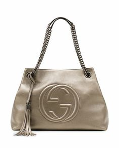 Mine as of Yesterday! Soho+Metallic+Leather+Shoulder+Bag,+Gunmetal+by+Gucci+at+Neiman+Marcus.