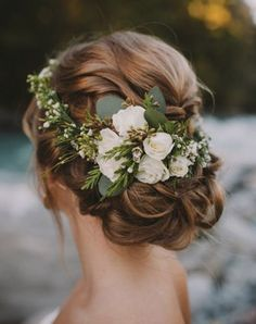 2017 Color Trend: Greenery. A Floral Crown in Mostly Greens with Soft Hints Of White.