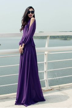 Purple Off-Shoulder Round Collar Maxi Dress