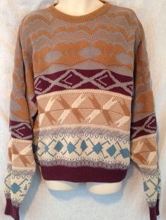 Vintage London Towne 3D Geometric Design Stripe Ski Resort Men's 2X Knit Sweater #LondonTowne #Crewneck