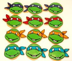Ninja turtle cookies made from a hot air balloon cutter and a starfish cutter by Miss Biscuit Ninja Turtle Cookies, Ninja Turtle Party, Ninja Turtles, Decorating Supplies, Cookie Decorating, Savoury Baking, Vacation Bible School, Superhero Party, Whats New