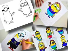 "Buy Now Everyone knows the funny Minions, the small yellow handyman from the movie ""Despicable Me"". You can buy the 2 templates for this lesson, in which we began to know each other by drawing our ..."