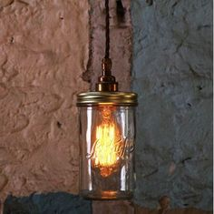 Suspension bocal Le Parfait en verre et laiton Jam Jar Mullan Lighting Rustic Pendant Lighting, Glass Pendant Light, Pendant Light Fixtures, Pendant Lamp, Mason Jar Lighting, Mason Jar Lamp, Jar Lights, Hanging Lights, Diy Luminaire