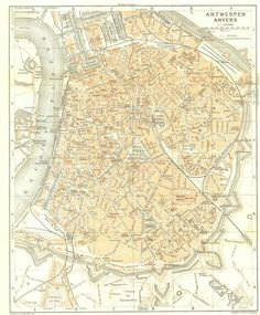 1910 Antwerpen Anvers City Map Street Plan by CarambasVintage, $16.00