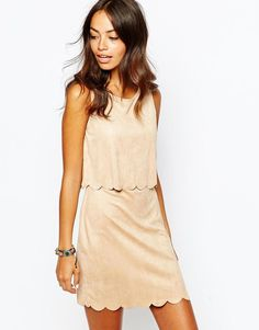 New Look | New Look Suedette Scallop Detail Dress at ASOS