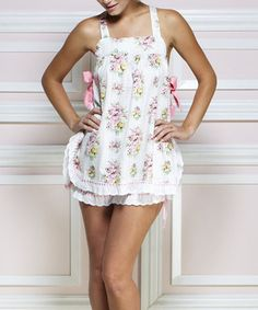 Look at this Jessie Steele White & Pink Gingham Floral Babydoll Set - Women on today! Baby Doll Pajamas, Girls Pajamas, Baby Dolls, Cute Fashion, Fashion Beauty, Summer Outfits, Cute Outfits, Summer Clothes, Aprons Vintage