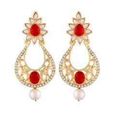 I Jewels Gold Plated Chandelier Earrings For Women E2347M (Red)