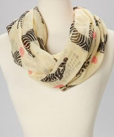 Look at this #zulilyfind! Pale Yellow Zebra Infinity Scarf #zulilyfinds - My daughter got this scarf for Christmas & absolutely LOVES it!!