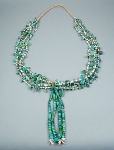 Navajo Four Strand Turquoise Tab Necklace with Joclas, c.1930's | Shiprock Santa Fe
