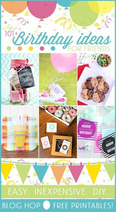 101 Birthday Ideas for Friends -- love these easy birthday gift ideas for friends. and they have free printables associated with them! Inexpensive Birthday Gifts, Creative Birthday Gifts, Friend Birthday Gifts, Inexpensive Gift, Birthday Tags, Diy Birthday, Birthday Ideas, Birthday Week, Happy Birthday