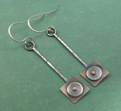 Geometric Mixed Metal Riveted Dangle Earrings by AmorphicMetals, via Flickr