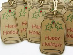 """Handmade mason jar tags are great for Christmas packaging. These tags are embellished with hand stamped holly and a rhinestone, perfect for your handmade items or gifts. This set of 10 tags measure 2.75"""" high by 1 5/8"""" wide and comes with twine ties. Thank you for visiting HolidayImaginations.etsy.com. Visit my other handcrafted shops – CottageImaginations.etsy.com – for a Cozy Cottage Lifestyle ... * You can get additional details at the image link."""