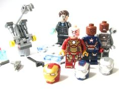 Lego Iron Patriot Iron Man War Machine Tony Stark with mock Garage i REALLY want this 1
