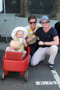 When the kids were in a wagon and Neil and David were proud dads:   27 Times In 2013 Neil Patrick Harris' Family Was Cuter Than Yours