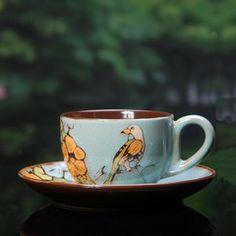 花鸟颂春 拉花创意欧式 咖啡杯碟 卡布奇诺特色 陶瓷杯子套装送勺