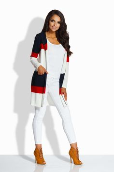 Cardigan de dama in dungi cu lungime medie si gluga navy Pull Long, Mode Hijab, White Jeans, Navy, Womens Fashion, Modern, Knit Cardigan, Jackets, Dots