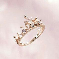 PRINCESS TIARA RING ROSE GOLD ENGAGEMENT TIARA RING COSTUME JEWELRY
