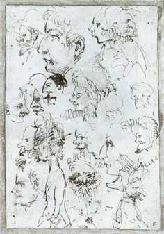 Sheet of caricatures, 1595 Annibale Carracci