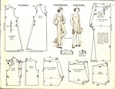 Pyjamas, underskirt, knickers Vintage Sewing Pattern