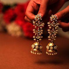 Long jhumkas, gold jhumkas, pearl jhumkas, traditional jewellery, traditional in… – Beauty Pearl Jhumkas, Gold Jhumka Earrings, Indian Jewelry Earrings, Fancy Jewellery, Jewelry Design Earrings, Indian Wedding Jewelry, Gold Earrings Designs, Indian Jewellery Design, Bridal Earrings