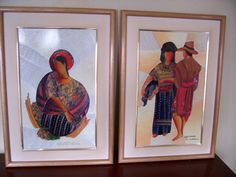 """Pair of Original 1997 signed Glass Art by Leonel Fernandez, Guatemala, CA  """"BLANK FACE"""" ( 20.5 x 14.5) matted and framed by LIZ404 on Etsy"""