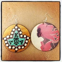 Alpha Kappa Alpha 20 Pearls Earrings with pink lady graphic back