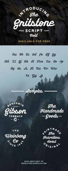 Gritstone Script Bold Font Free - Free Fonts  Gritstone is a bold display script font that is extremely unique and features heavy loopy characters. This product comes with uppercase & lowercase letters and is ideal for logos & branding, badges, T-shirts, posters and much more!