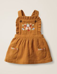 Floral Embroidered Pinafore - Butterscotch Brown Embroidery Source by ohjoy clothes Baby Girl Dresses, Baby Outfits, Baby Dress, Kids Outfits, Toddler Outfits, Vintage Girls Dresses, Fashion Kids, Baby Girl Fashion, Toddler Fashion