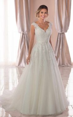 Vintage A-Line Wedding Dress with Soft Train - Stella York Wedding Dresses - # Check . - Vintage A-Line Wedding Dress with Soft Train – Stella York Wedding Dresses – # Check more at wed - Top Wedding Dresses, Wedding Dress Trends, Perfect Wedding Dress, Bridal Dresses, Dresses Dresses, Wedding Ideas, 2017 Wedding, Event Dresses, Tulle Wedding