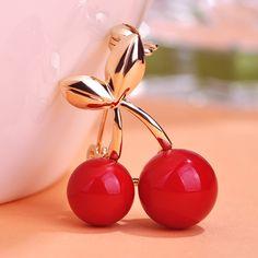 Oro de la manera de La Boda de Color Rojo Cereza Broches Traje Collar Pins Hijab Pines Hasta Vestido de Las Mujeres Bufanda Clips Joyería de Fruta Dulce Corsages